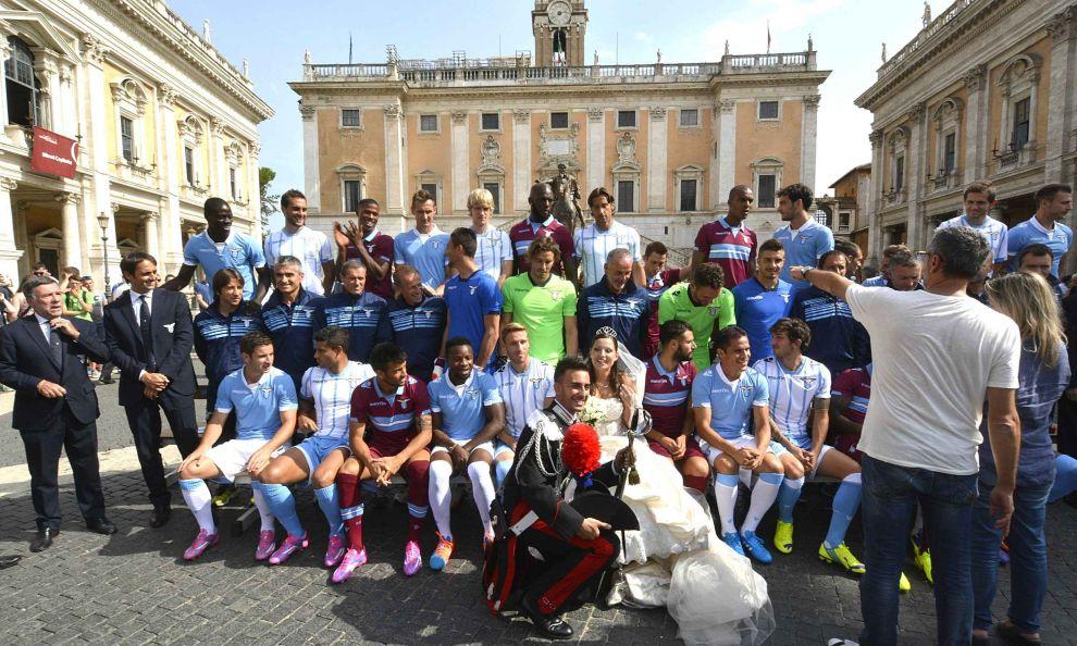 Lazio in posa in Campidoglio per la foto ufficiale