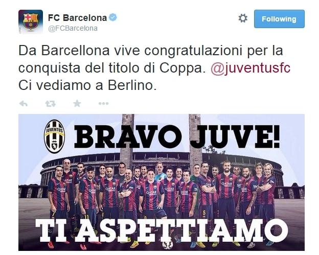 Barça, complimenti alla Juve: «Ora vi aspettiamo in finale»