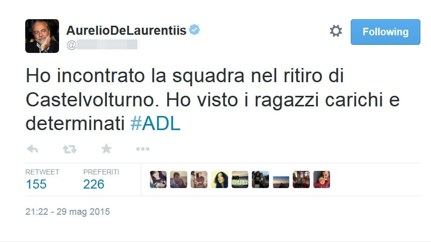 Napoli, De Laurentiis ottimista: «Carichi e determinati»