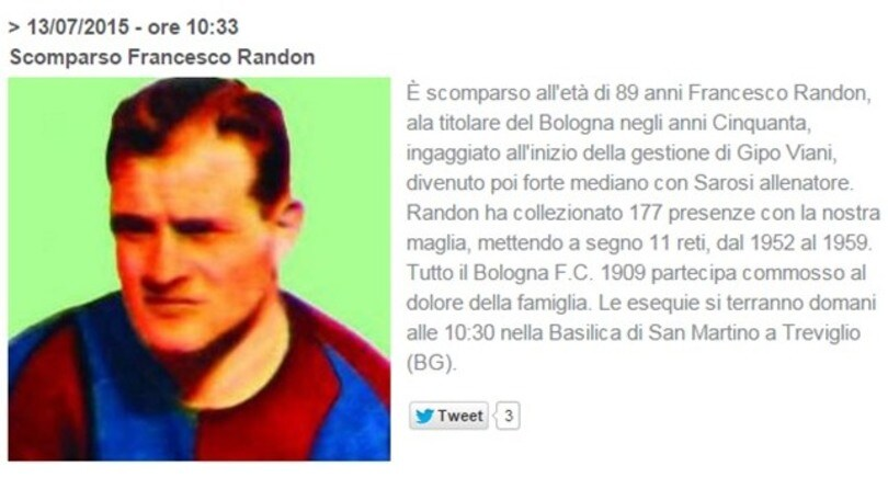 Bologna in lutto, addio a Francesco Randon