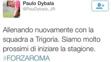 Errore su Twitter, Dybala si sente Iturbe: «Forza Roma!»