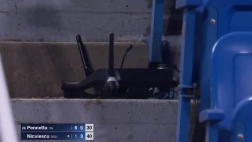 Drone sullo stadio durante il match della Pennetta