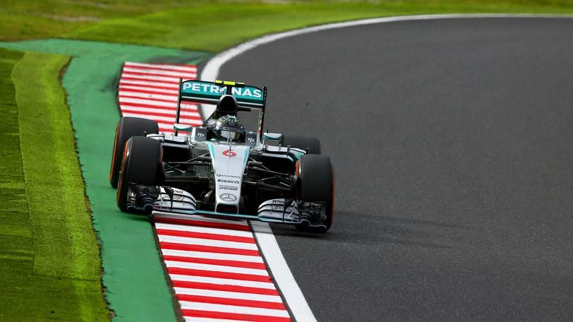 F1 Suzuka: pole a Rosberg, Vettel 4°. Kvyat, che botto!