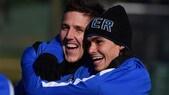 Inter, i nerazzurri si divertono in allenamento prima del Napoli