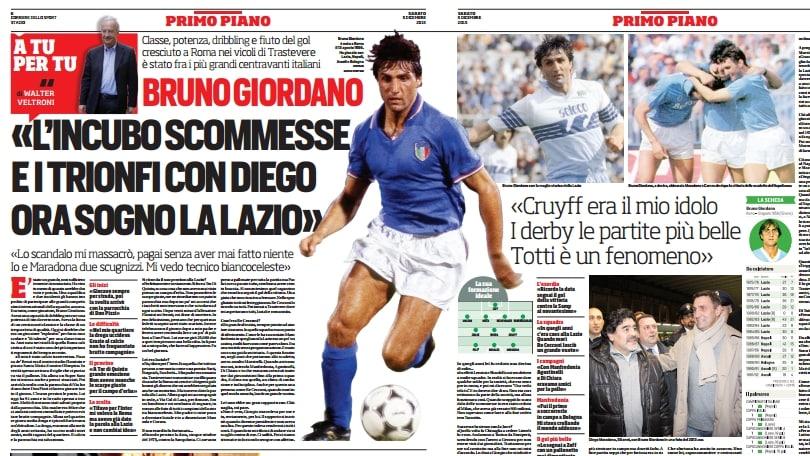 Veltroni intervista Giordano: «I trionfi con Diego. Ora sogno la Lazio»