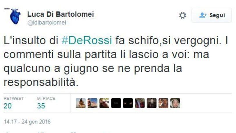 Roma, il figlio di Di Bartolomei attacca De Rossi: «Il suo insulto fa schifo, si vergogni»