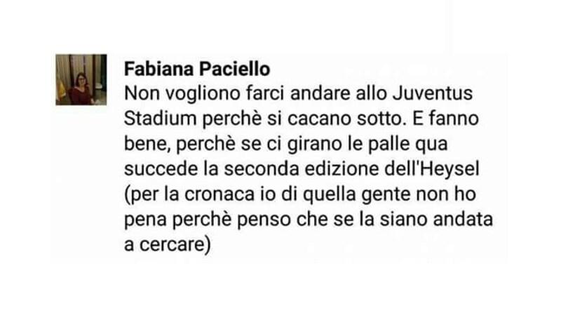 Post choc di una tifosa del Napoli: «Se ci girano, qua succede un altro Heysel»