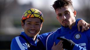 Inter, Nagatomo e Telles in posa in allenamento