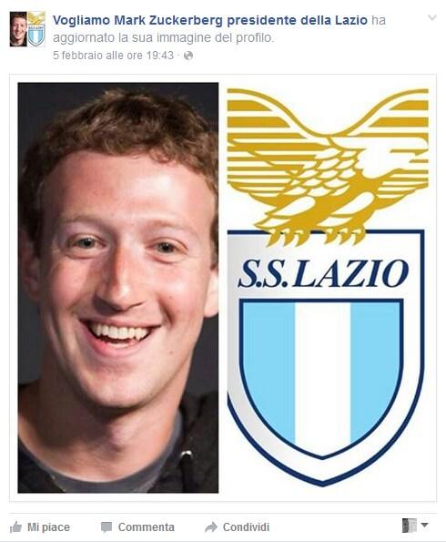 Lazio, un gruppo su Facebook: Zuckenberg presidente
