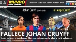 Addio a Johan Cruyff, la reazione dei siti esteri