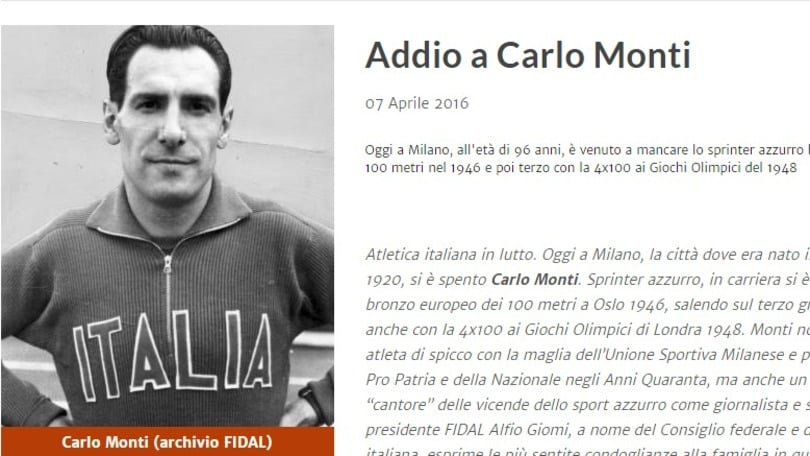 Atletica in lutto, è morto Carlo Monti
