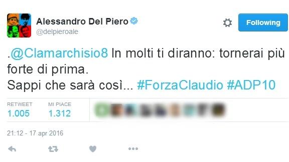 Juventus, da Renzi a Del Piero: tutto il sostegno per Marchisio sui social!