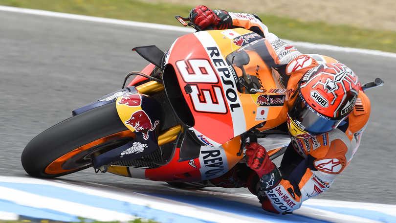 MotoGp, Jerez: a Marquez il warm up, Rossi secondo