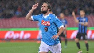 Serie A, Napoli-Atalanta 2-1: Higuain torna al San Paolo con una doppietta
