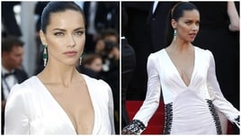 Adriana Lima in look total white a Cannes: che décolleté!
