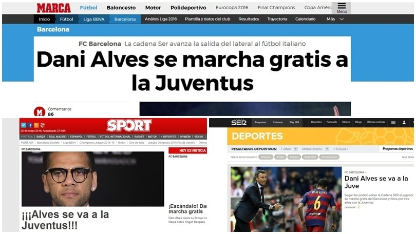 Calciomercato, «Dani Alves alla Juventus»: i siti spagnoli aprono così!