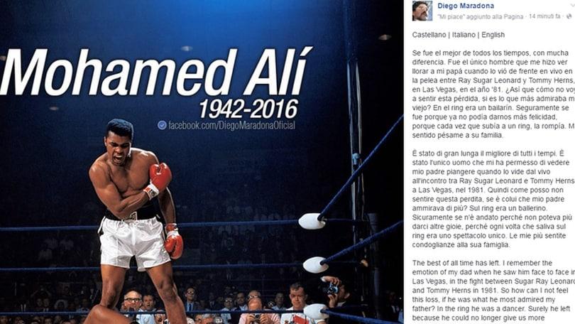 Maradona e Pelè uniti per Ali: «E' stato il migliore»