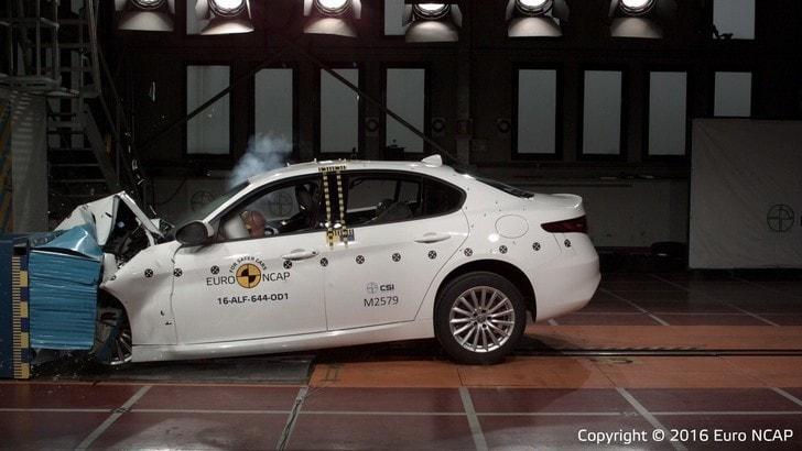 Alfa Romeo Giulia, 5 stelle nei crash test Euro NCAP
