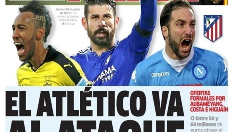Calciomercato, in Spagna: «Atletico Madrid scatenato: offerte per Higuain, Aubameyang e Diego Costa»