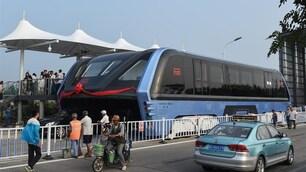 Il bus gigante che viaggia al di sopra le auto
