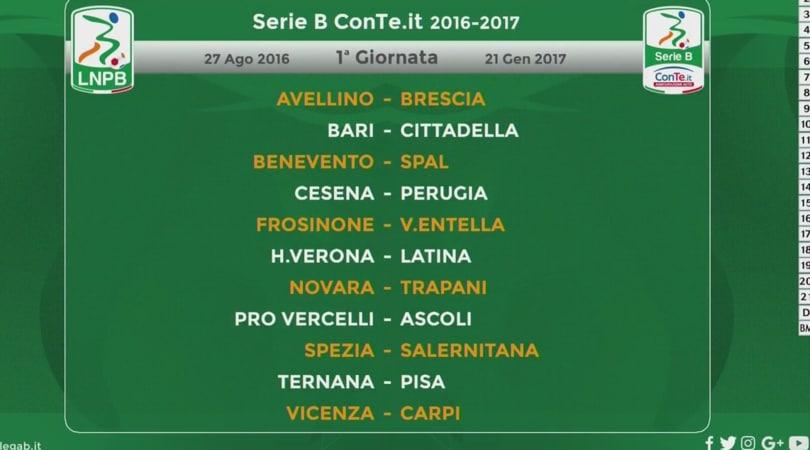 Calendario Verona Serie B.Serie B 2016 2017 Il Calendario Giornata Per Giornata