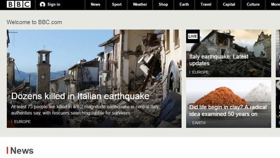 Il terremoto in Italia è l'apertura dei siti di tutto il mondo