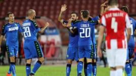 Europa League, le emozioni di Stella Rossa-Sassuolo 1-1