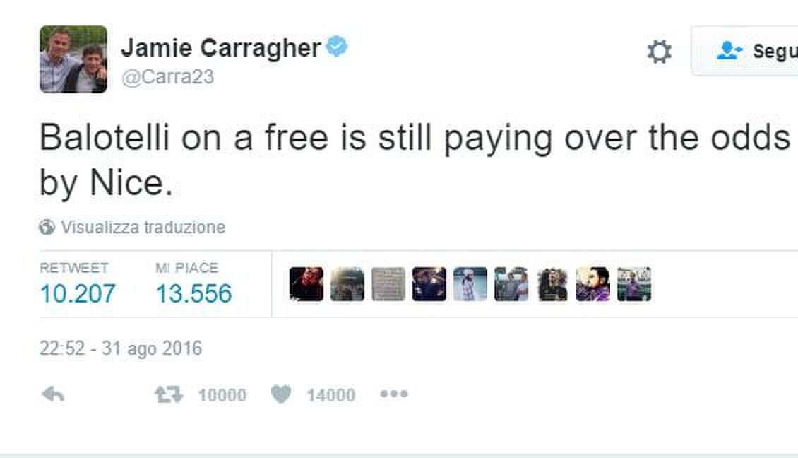 Carragher attacca Balotelli: «Via gratis? Anche troppo costoso»