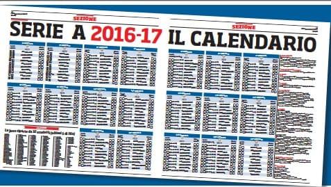 Un grande regalo domani in edicola:il calendario aggiornato di serie A