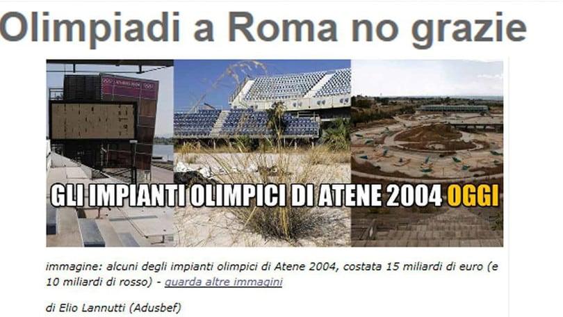 Olimpiadi, blog Grillo: «No grazie»