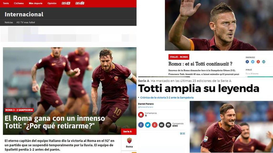 Serie A Roma, anche all'estero si chiedono: «E se Totti continuasse?»