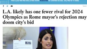 Roma 2024, il no della Raggi fa il giro del mondo