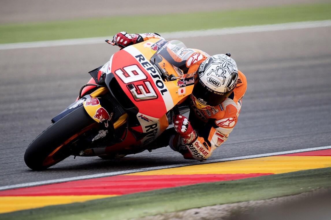 MotoGp Aragon: Marquez guida le ultime libere, nono Rossi