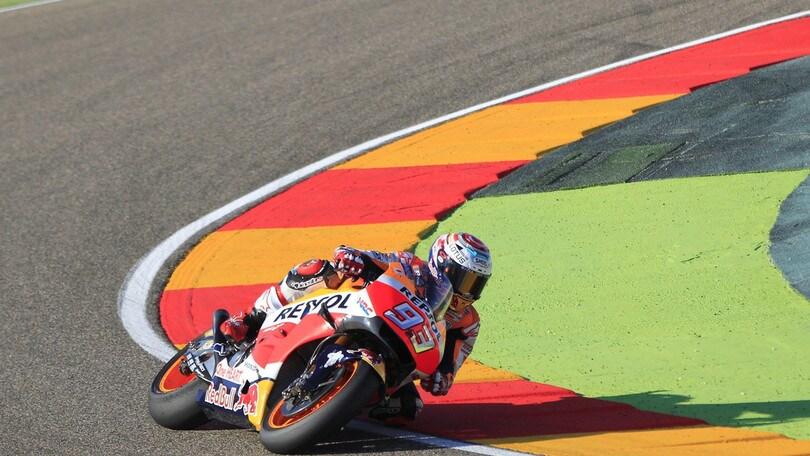 MotoGp Aragon: ultime libere ancora a Marquez, Rossi è secondo