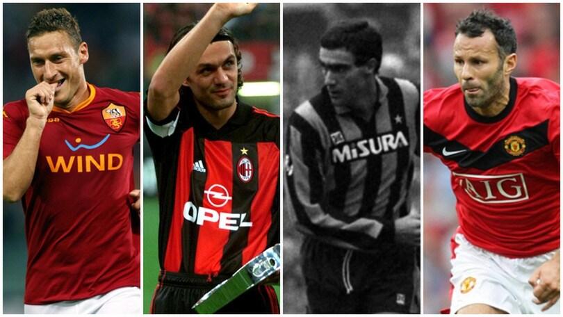 Totti, 25 stagioni con la Roma. Da Maldini a Giggs, i dieci fedelissimi più longevi