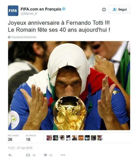 Fifa, che gaffe: «Buon compleanno a Fernando Totti»
