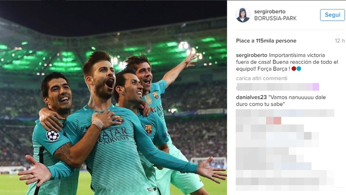 Juventus, Dani Alves non dimentica il Barcellona: «Sergi Roberto, picchia duro!»