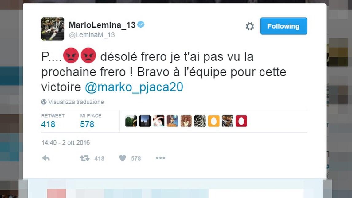 Juventus, Lemina chiede scusa a Pjaca: «Non ti ho visto fratello»
