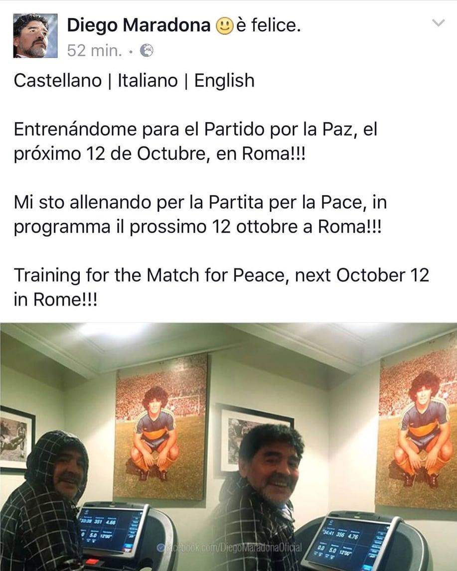 """Maradona per la partita """"Uniti per la pace"""": «Il 12 ottobre tutti allo stadio per Amatrice»"""