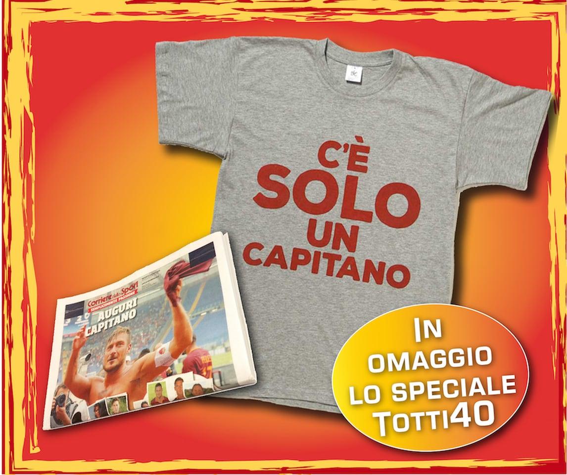 """La maglia """"C'è solo un Capitano"""" con l'edizione digitale del Corriere dello Sport-Stadio"""