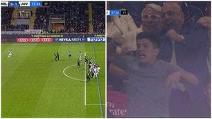 La sequenza del gol annullato alla Juve e l'esultanza di Galliani