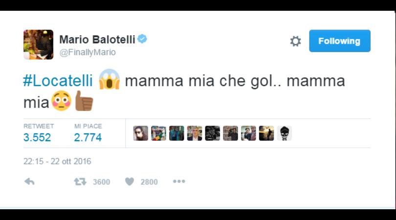 Serie A Milan, Balotelli: «Locatelli mamma mia che gol!»