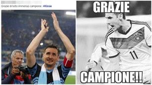 Klose, il tributo dei tifosi sui social: «Grazie campione»