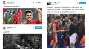 Addio Gerrard: le reazioni del mondo del calcio sui social
