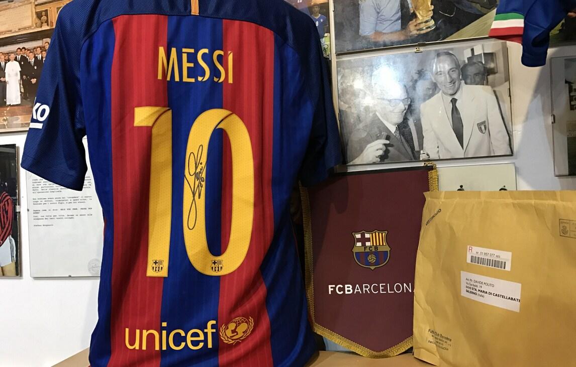 """Messi, la maglia autografata al museo del calcio """"Andrea Fortunato"""""""