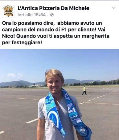 """Rosberg il """"napoletano"""": una pizza da campione"""