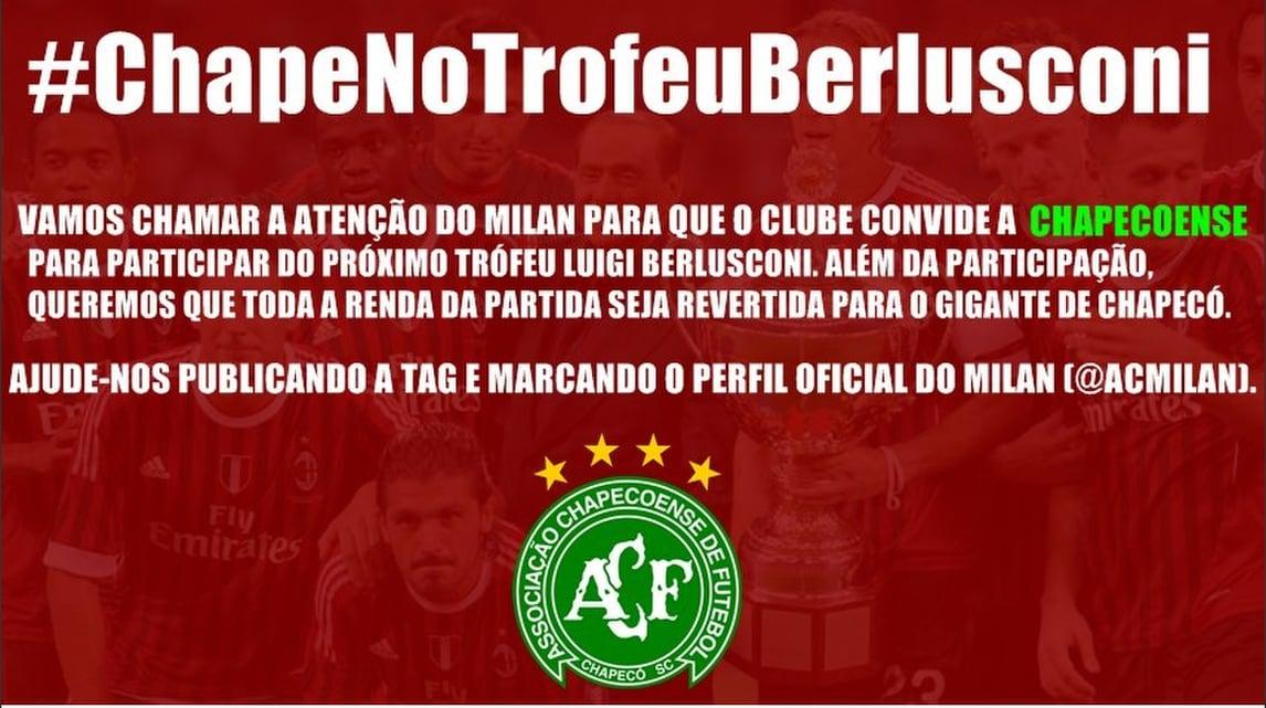 Milan, dal Brasile: «Fate giocare alla Chape il Trofeo Berlusconi»