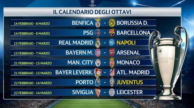 Calendario Champions Ottavi.Champions League Juve E Napoli Ecco Quando Giocano