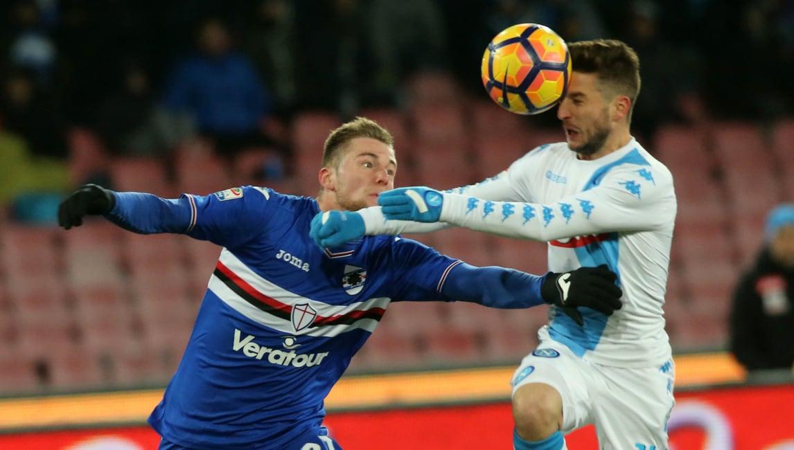 Gabbiadini inizia la rimonta, conclude Tonelli: Napoli-Sampdoria finisce 2-1