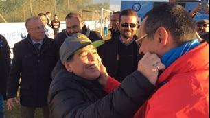 Napoli, Maradona a Castelvolturno incontra Sarri e la squadra
